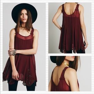 FREE PEOPLE Maroon Beaded Tunic Tank Top